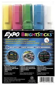 Expo Bright Sticks Wet Erase Marker Assorted Fluorescent Color Pack Of 5