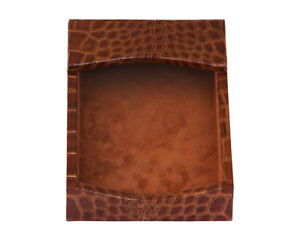 Protacini Cognac Brown Italian Patent Leather 4 X 6 Memo Holder