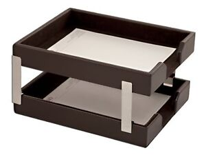 A3622 econo line dark brown leather double letter trays