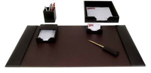 D3601 brown leather 6 piece econo line desk set