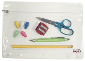 School Smart Vinyl Zippered Ring Binder Pouch 7 X 10 In Clear Vinyl Pack O