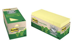 Post it Recycled Paper Greener Notes Cabinet Pack 3 X 3 In Canary Yellow P