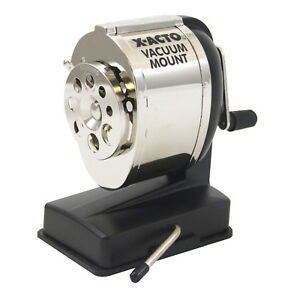 X acto Boston Portable Vacuum Mount Pencil Sharpener Silver black