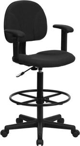Black Patterned Fabric Drafting Chair With Adjustable Arms cylinders 22 5