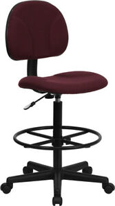 Burgundy Fabric Drafting Chair cylinders 22 5 27 h Or 26 30 5 h Bt