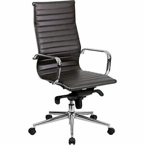 High Back Brown Ribbed Leather Executive Swivel Chair With Knee tilt Control