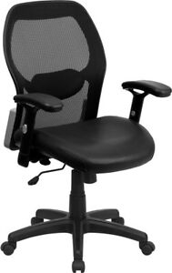 Mid back Black Super Mesh Executive Swivel Chair With Leather Seat And Adjust