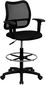 Mid back Black Mesh Drafting Chair With Adjustable Arms Wl a277 bk ad gg