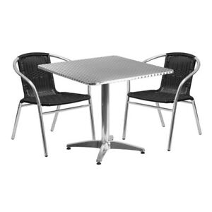 31 5 Square Aluminum Indoor outdoor Table Set With 2 Black Rattan Chairs