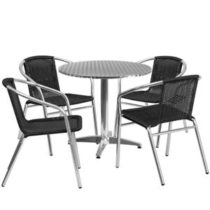 31 5 Round Aluminum Indoor outdoor Table Set With 4 Black Rattan Chairs T