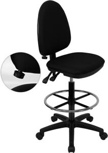 Mid back Black Fabric Multifunction Drafting Chair With Adjustable Lumbar Sup