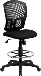 Mid back Designer Back Drafting Chair With Fabric Seat Wl 3958syg bk d gg