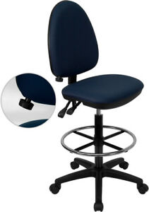 Mid back Navy Blue Fabric Multifunction Drafting Chair With Adjustable Lumbar
