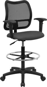 Mid back Gray Mesh Drafting Chair With Adjustable Arms Wl a277 gy ad gg