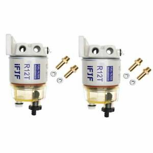 2 Set Diesel Fuel Filter Water Separator For R12t Marine Spin on Houing 120at
