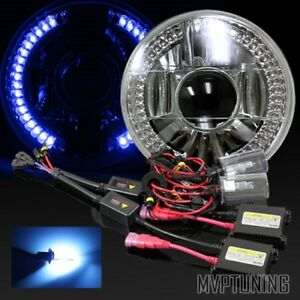 7 Inch Round Par56 Chrome Crystal Blue Led Ring Projector Headlights 10000k Hid