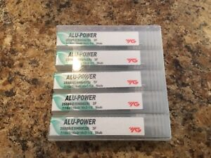 Lot Of 5 7 16 alu power 3 Flute Carbide End Mill yg 1 New 25588