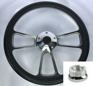 14 Polished Steering Wheel Black Wrap Bowtie Horn Button Adapter For Chevy