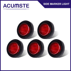 5x Red 2 Round 9 Led Truck Rv Trailer Side Marker Lights Clearance W Grommet
