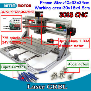 3 Axis Desktop Diy Mini 3018 Cnc Router Engraver Pcb Wood Milling Laser Machine