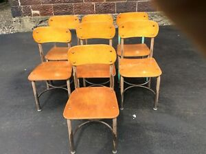 7 Vintage Norcor Small Wood Metal School Chairs Very Good