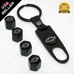 Car Wheel Tyre Tire Valve Dust Stems Air Caps Keychain Black Chevrolet Emblem