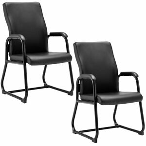 2pcs Reception Chair With Sled Base Mid back Pu Leather Reception Guest Office M