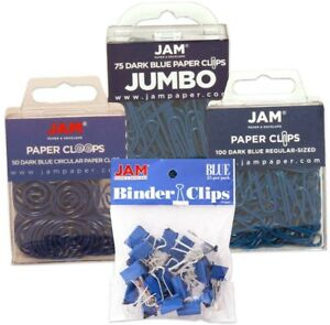 Jam Paper Blue Office Clip Assortment Pack Binder Clips Paper Clips And Round