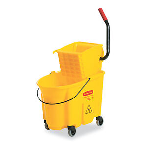 Rubbermaid Commercial 26 Quart Mop Bucket Janitorial Rolling Cart Press Wringer