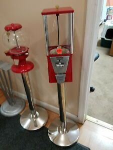 Restored Oak Vista 1 Inch Gumballs Machine 25 Cent Vend With New Ss Stand Incl