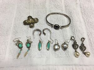 Collectors Zuni Onyx Sterling Silver Jewelry Mixed Lot Not Scrap