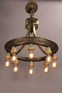 1 Of 3 1920 S Antique Spanish Revival Tudor Eight Light Chandelier 11155