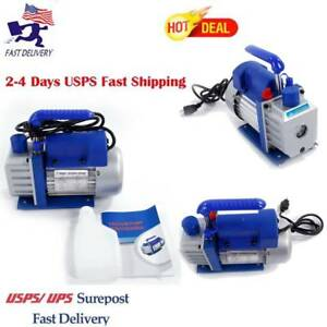 Rotary Vane Vacuum Pump Single Stage Hvac 1 4 Hp 3cfm Horsepower Blue Air Tool