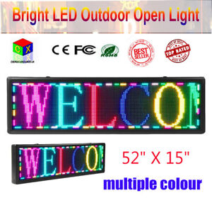 52 x15 led Sign Programmable Scrolling Message Display Board Open Multiple Color