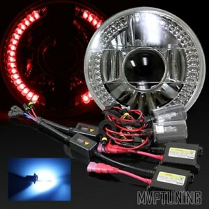7 Round Chrome Crystal Red Led Ring Projector Headlights Conversion 10000k Hid