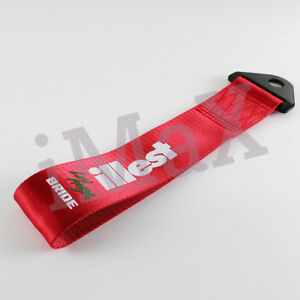 1x Jdm Bride Illest Racing Drift Rally Car Tow Towing Strap Belt Hook Red