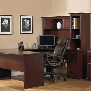 New U shaped Office Executive Desk With Hutch Cherry L shape free Delivery