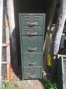 Vintage Industrial 5 Drawer Metal File Cabinet Storage Bin Dresser Brass Handle