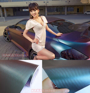 12 X 60 Cool Car Wrap 3d Chameleon Carbon Fiber Vinyl Sticker Green Purple Hd