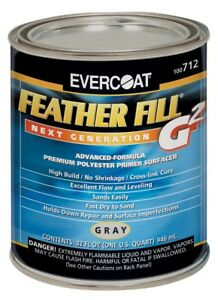 Evercoat 712 Feather Fill G2 Gray Premium Polyester Primer Surfacer Quart