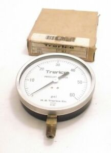 Trerice D13612 Pressure Gauge 4 5 Bottom Mount 0 60 Psi 1 4 Npt Ppd