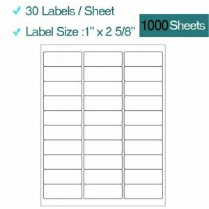 30000 1 X 2 5 8 Address Labels 1000 Sheets Amazon Fba Labels 30 Per Sheet 30up