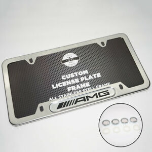 Chrome Stainless Steel Front Rear For Amg License Plate Frame Cover Gift