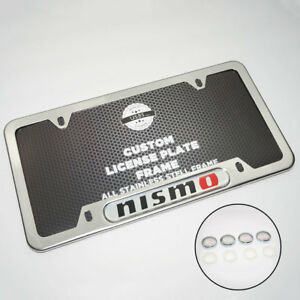 Chrome Stainless Steel Front Rear For Nismo License Plate Frame Cover Gift