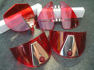 New Red Vintage Style Hood Bug Vent Deflectors Head Light Visors