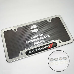 Chrome Stainless Steel Front Rear For Dodge License Plate Frame Cover Gift