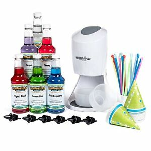 Hawaiian Shaved Ice Machine Syrup 6 Flavor Snow Cones Cups Bottles Pourers Party