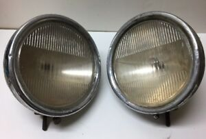 Pair Vintage Twilite Headlamps With Tilt Ray Headlamp Guide