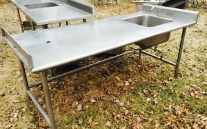 Stainless Steel Worktop Table With Sink And End Backsplash 83 5 X 36