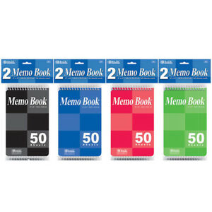 Bazic 50 Ct 4 X 6 Top Bound Spiral Memo Books 2 pack